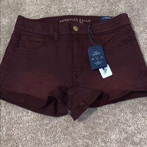 NWT American Eagle maroon shorts size 8
